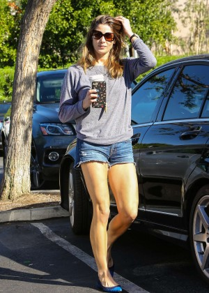 Ashley Greene in Jeans Shorts at Bristol Farms in LA