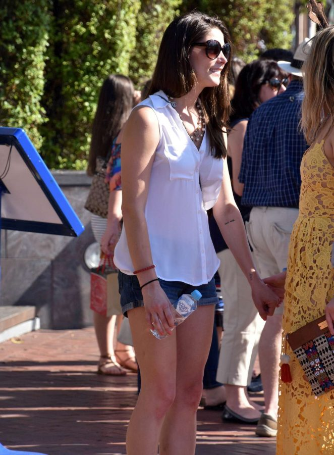 Ashley Greene in Jeans Shorts out on Christmas in Sydney
