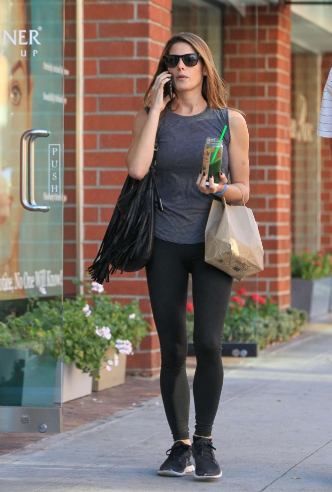Ashley Greene in Tights Shopping in Beverly Hills