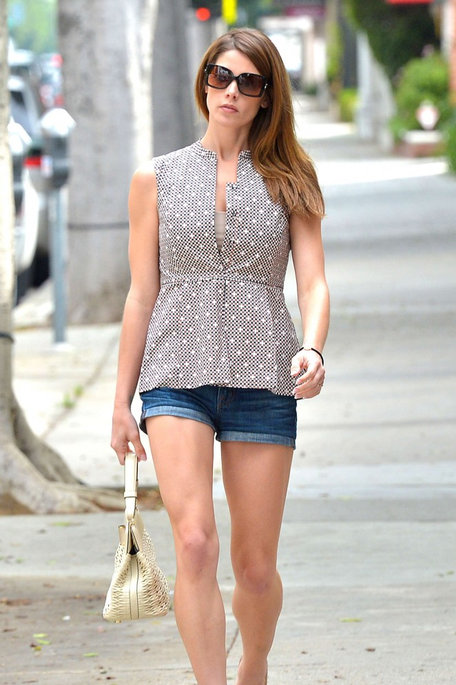 Ashley Greene in Jeans Shorts - Leaving Bellacures Manicure in LA