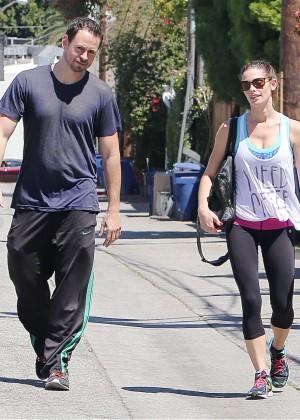 Ashley Greene in Leggings Leaving the gym in LA