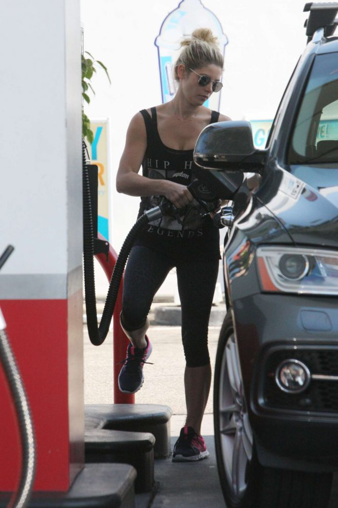 Ashley Greene - Pumping gas in Beverly Hills