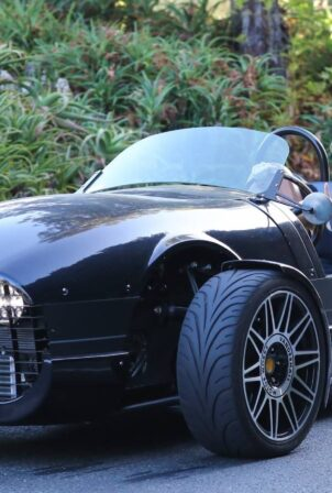 Ashley Greene - Seen in a Vanderhall Venice sports car in Venice Beach