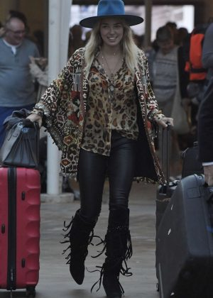 Ashley Hart in Leather Pants Arrives in Sydney