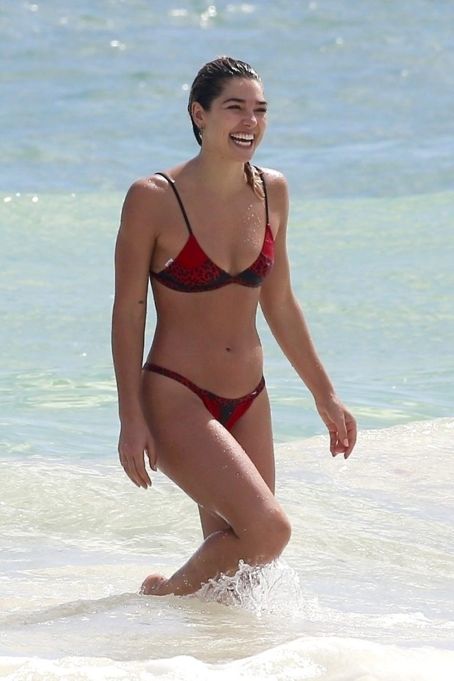 Ashley Hart in Red Bikini on the beach in Cancun