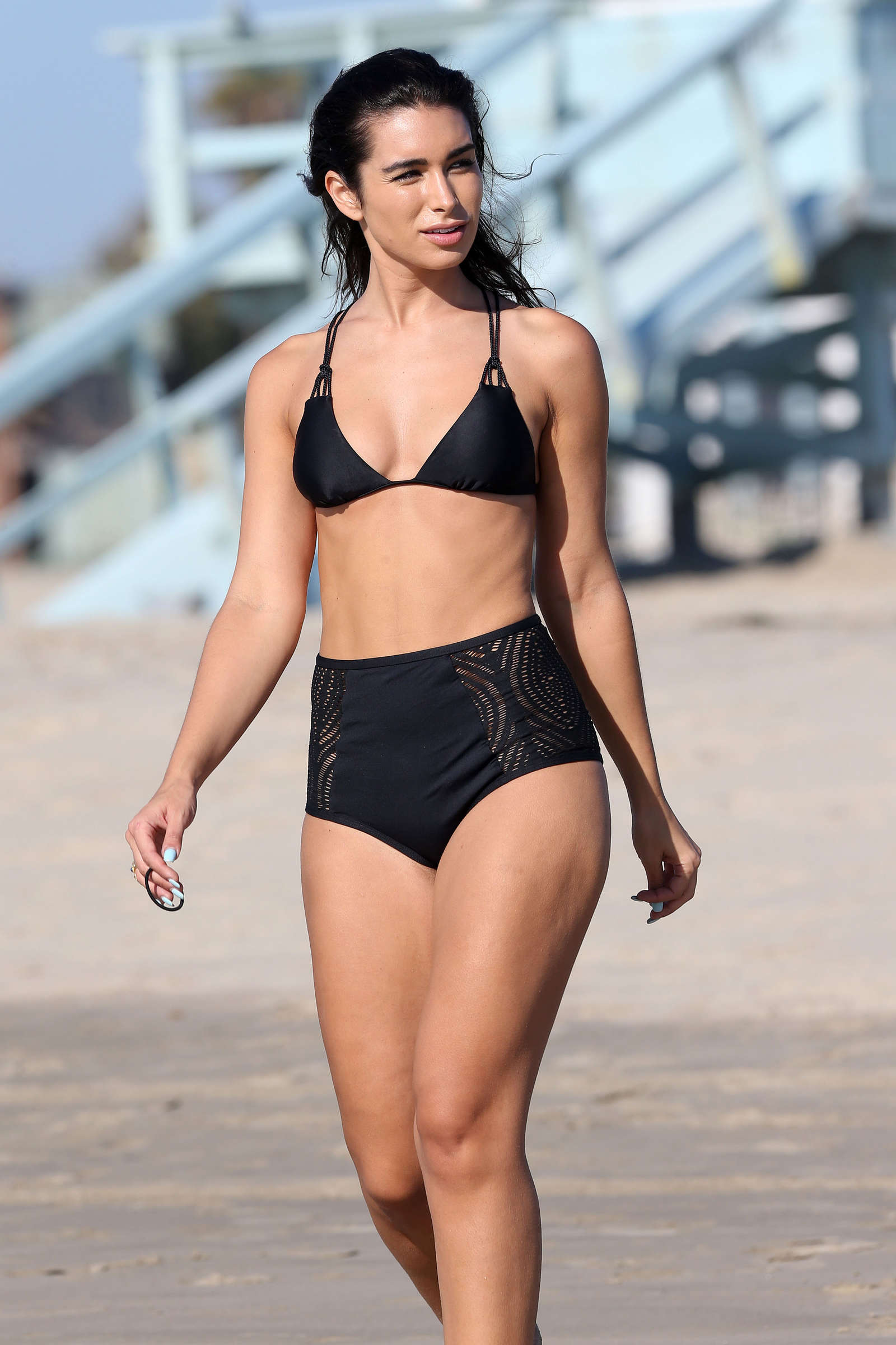 Ashley Iaconetti in Black Bikini in Los Angeles