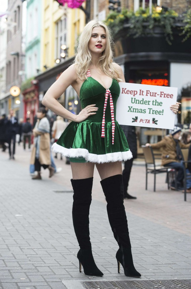 Ashley James – Fur Free PETA Christmas Campaign in London