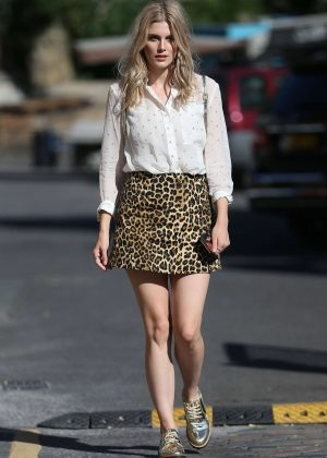 Ashley James in a Printed Mini Skirt out in London