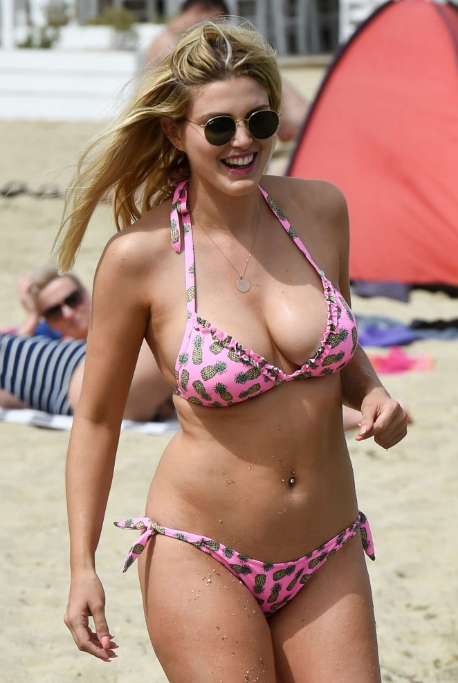 Ashley James in Bikini on the beach in Mykonos