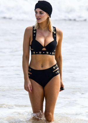 Ashley James in Black Bikini on the beach in Spain