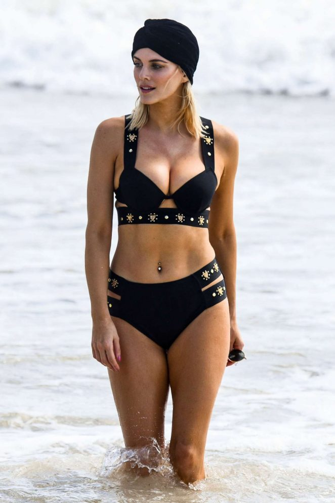 Ashley James in Black Bikini on the beach in Spain