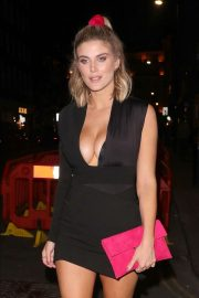 Ashley James in Black Mini Dress - Night Out in London
