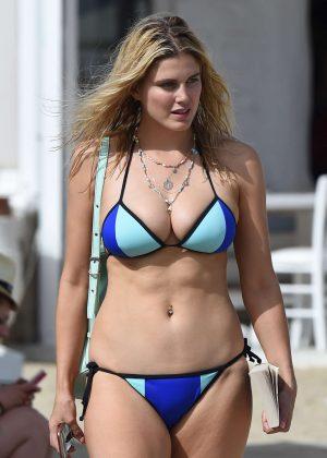 Ashley James in Blue Bikini at the Beach in Mykonos