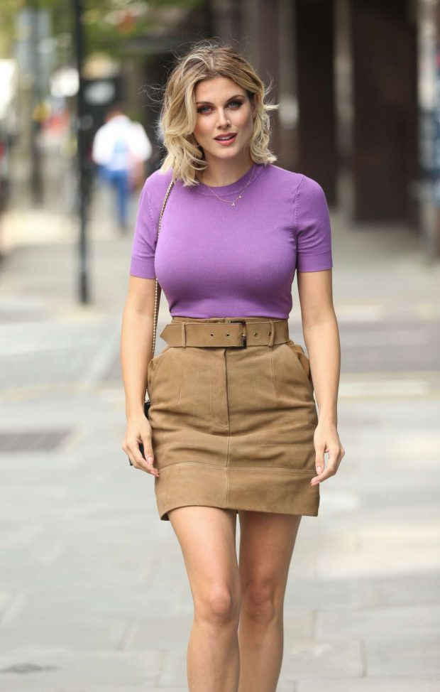 Ashley James in Khaki Mini Skirt - Out in Holborn