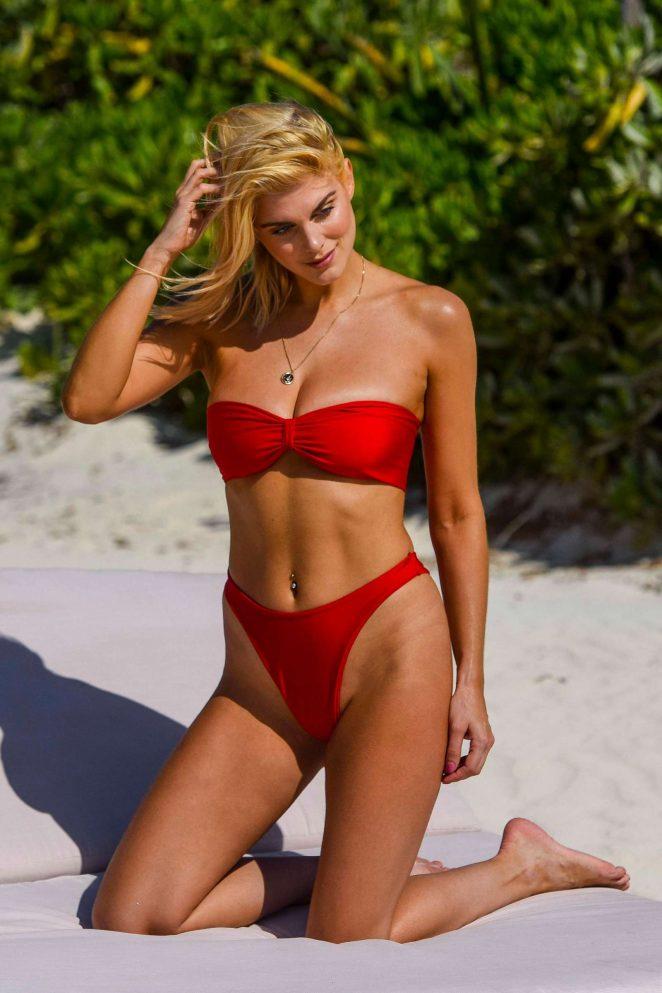 Ashley James in Red Bikini on the Beach in Ibiza