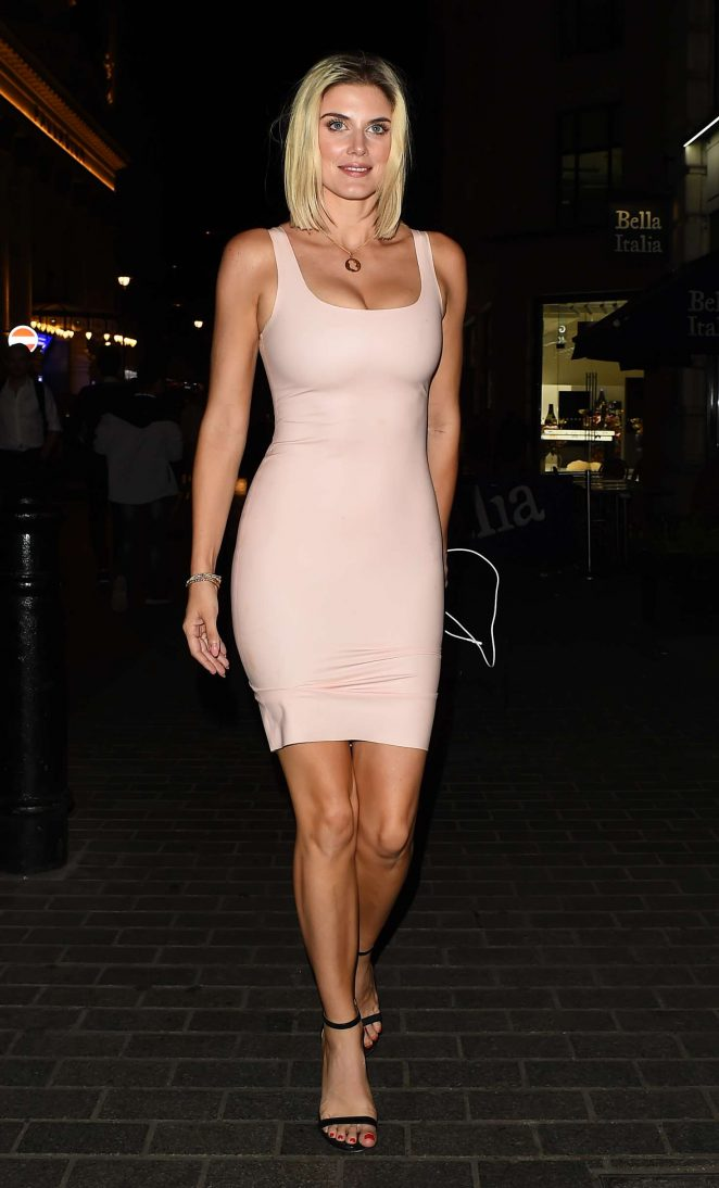 Ashley James in Tight Dress - Out in Mayfair