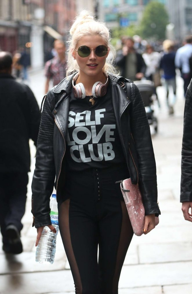 Ashley James in Tights at Hoxton Radio in London
