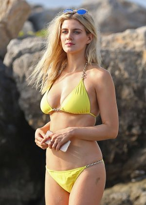Ashley James in Yellow Bikini on the beach in Ibiza - GotCeleb
