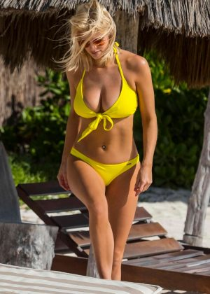 Ashley James in Yellow Bikini on the beach in Tulum