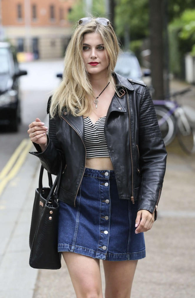 Ashley James in Jeans Mini Skirt out in London