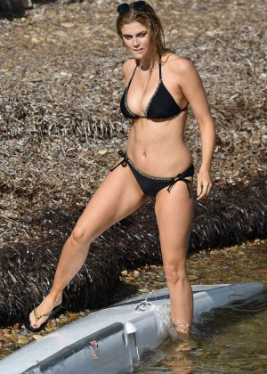 Ashley James – Wearing Black Bikini at a Beach In Bali