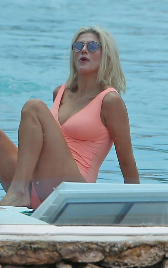 Ashley James - Wearing Swimsuit At A Pool In Ibiza