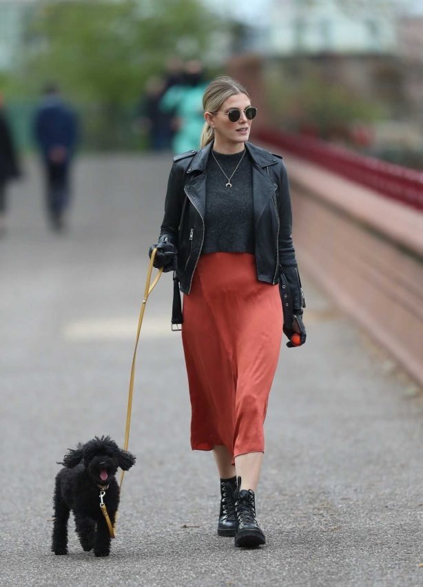 Ashley James with her dog Snoop out for a walk during self isolation