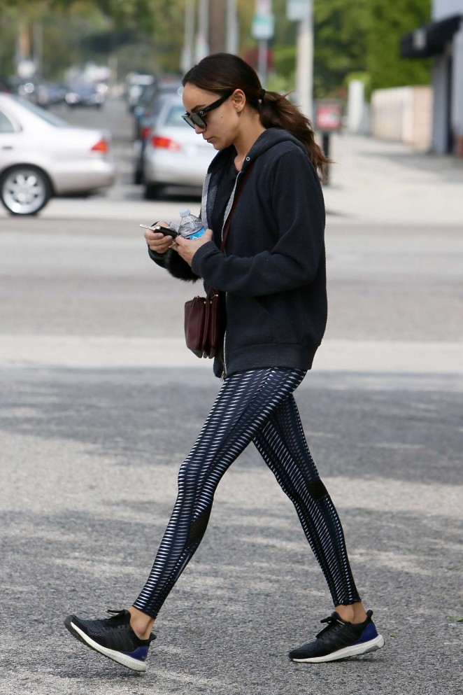 Ashley Madekwe in Tights Leaves a Gym in LA