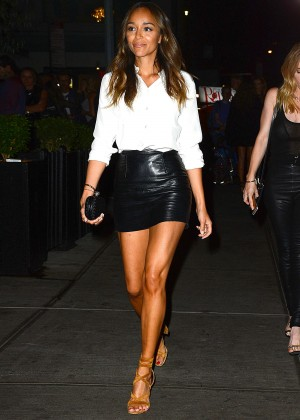 Ashley Madekwe in Short Leather Skirt -05 - GotCeleb