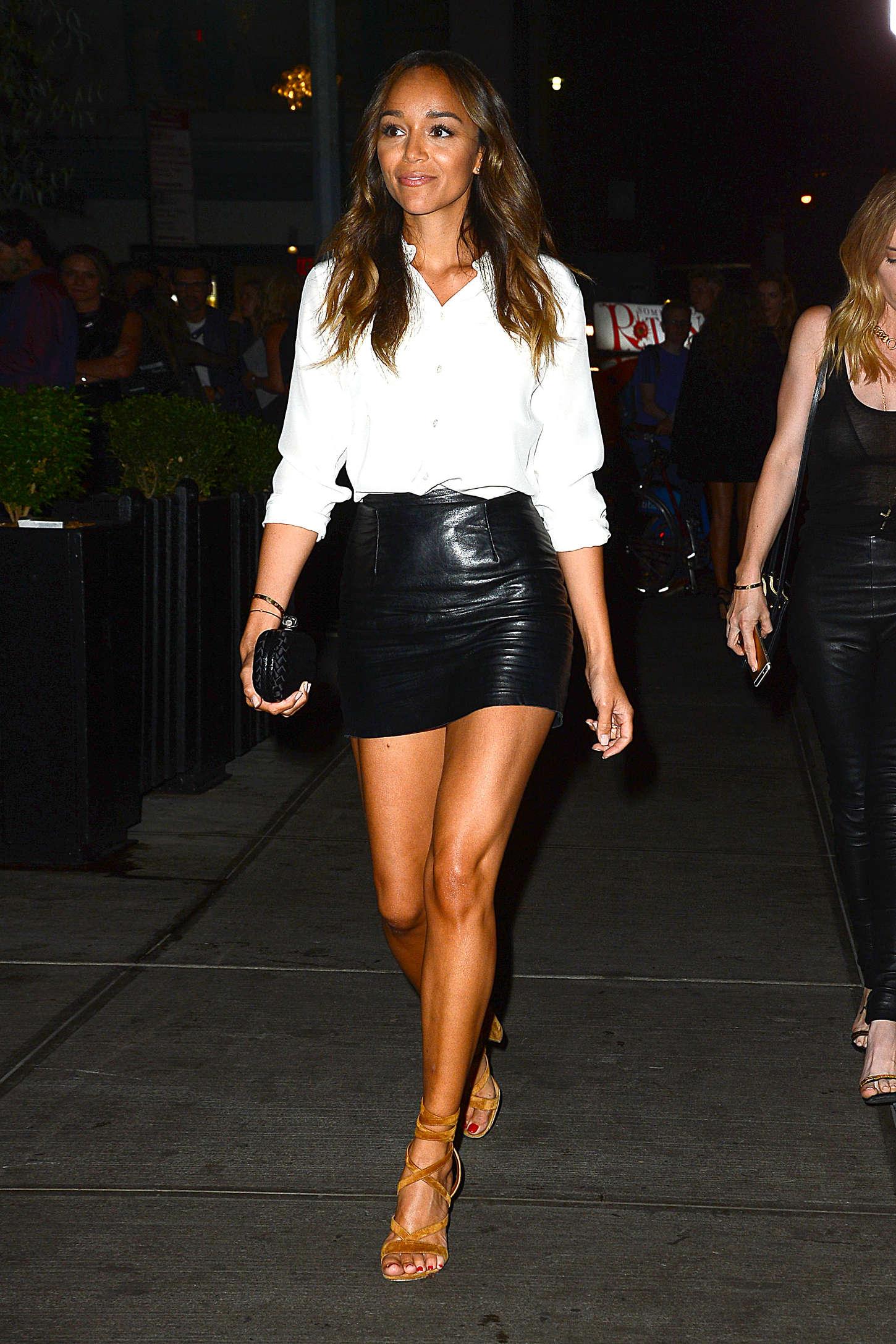Ashley Madekwe in Short Leather Skirt -05 - GotCeleb