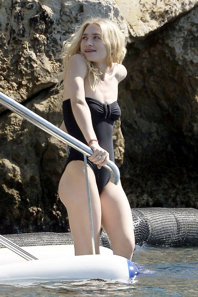 Ashley Olsen in Black Swimsuit in Antibes