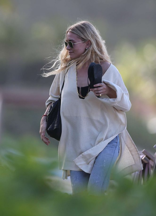 Ashley Olsen in Jeans on vacation in St Barth