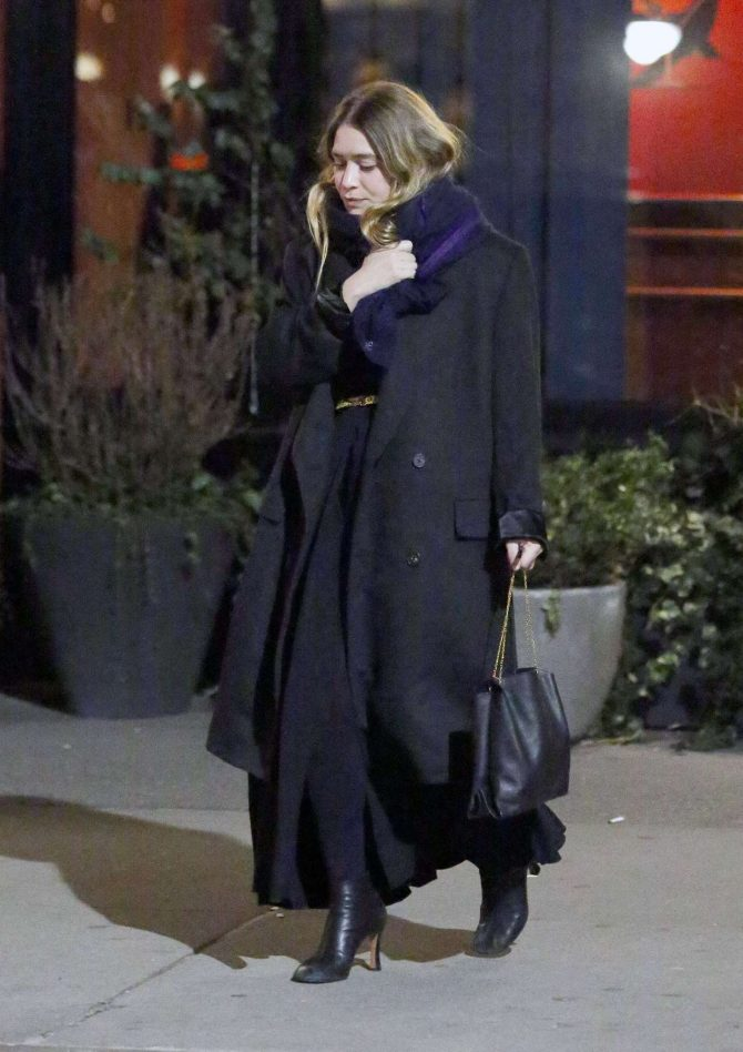 Ashley Olsen in Long Coat – Out in NYC