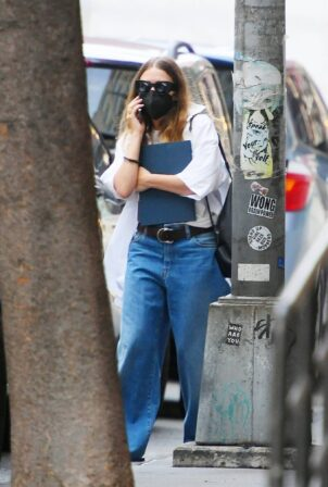 Ashley Olsen - Keeps a low profile while out in West Village
