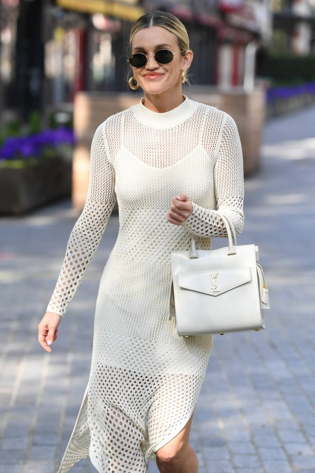Ashley Roberts - All in white outside Heart FM in London