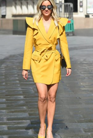 Ashley Roberts - All In Yellow Leaving the Heart Radio Studios in London