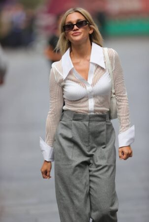 Ashley Roberts - In a grey loose fit trousers at Heart radio in London