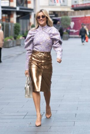 Ashley Roberts - In a metallic gold skirt and ruffle blouse at Heart radio in London