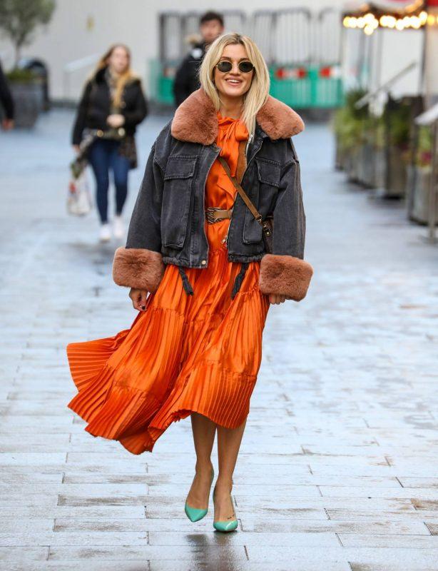Ashley Roberts - In a orange dress at the Global Radio Studios in London
