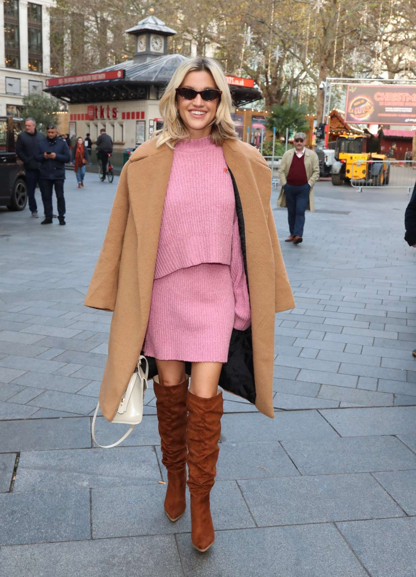 Ashley Roberts in a Pink Dress - Exits Heart Radio in London