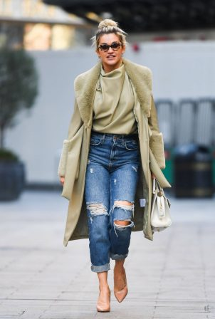 Ashley Roberts - In a ripped denim at Heart Radio Studios in London
