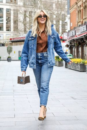 Ashley Roberts - In a River Island double denim outfit in London