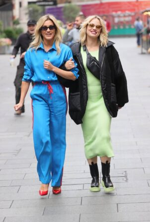 Ashley Roberts - In a striped tracksuit with Kimberly Wyatt in London