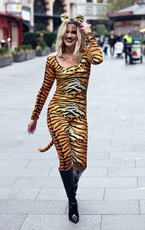 Ashley Roberts - In a Tiger print catsuit at the Heart radio studios in London