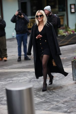 Ashley Roberts - In all black at Heart radio in London