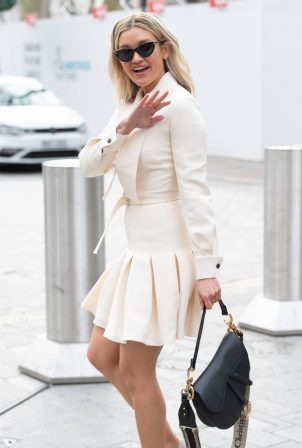 Ashley Roberts - In all white aeen leaving Global Studios in London