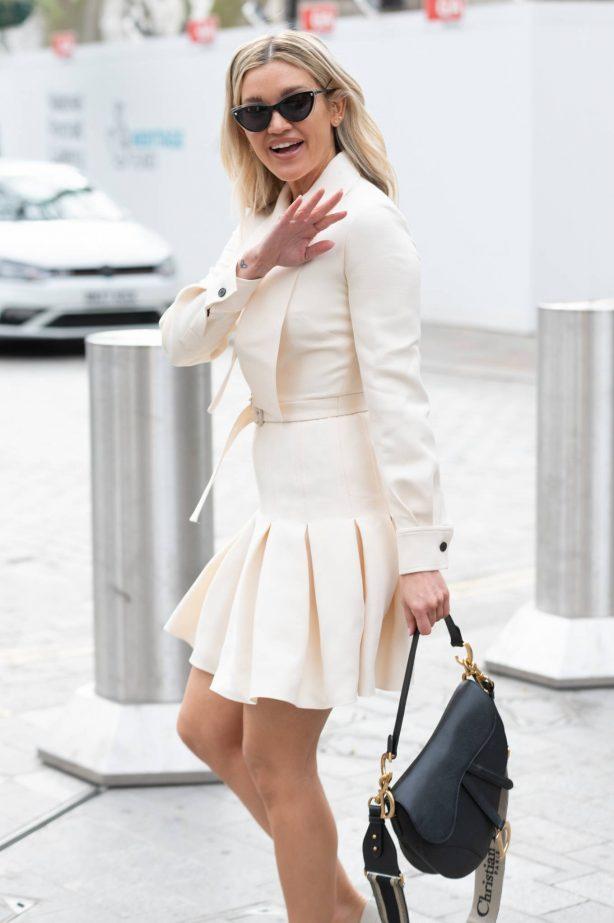 Ashley Roberts - In all white aeen leaving Global Studios in London