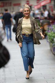 Ashley Roberts in Animal Print Coat - Leaving Global Radio Studios in London