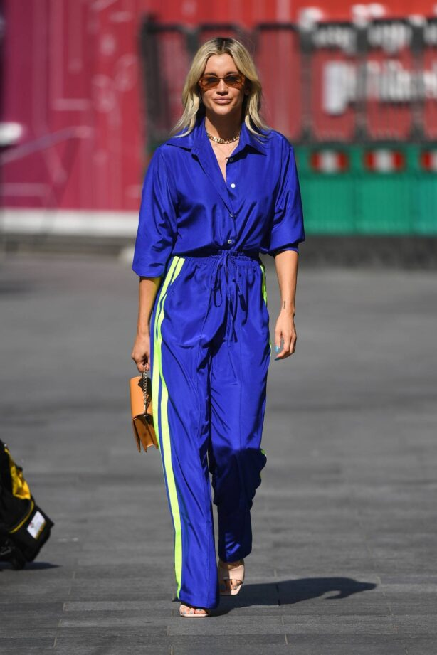 Ashley Roberts - In blue departing the Global Radio Studios in London