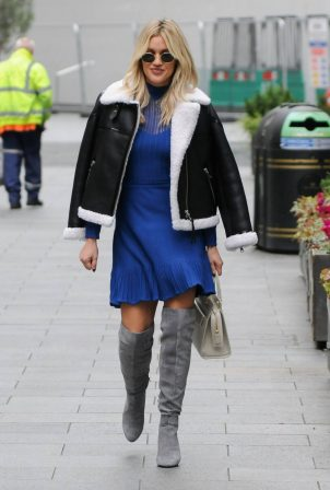 Ashley Roberts - In blue dress leaving Global Radio in London
